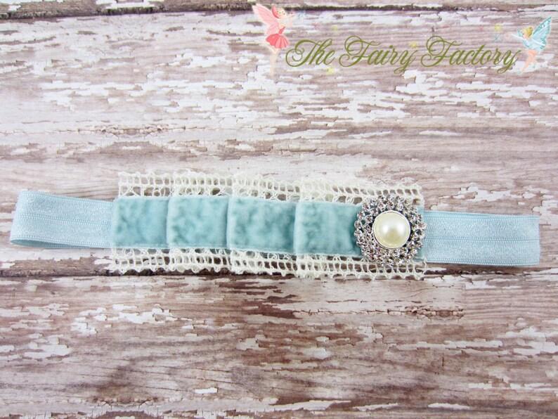 Vintage Pleated Baby Blue Velvet and Ivory Crochet Lace w Pearl /& Crystals Headband Baby Headband Newborn Baby Child Girls Headband