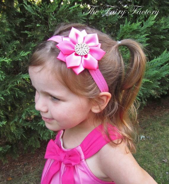 Hot Pink Flower Headband Hot Pink Satin Flower with  bef36c3e1e7