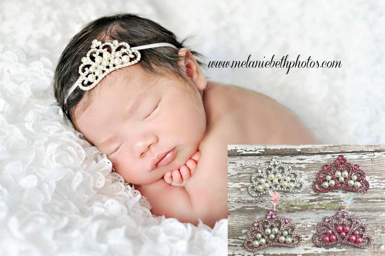 Baby Headband Baby Tiara Crystal   Pearl Tiara Headband  fc7ad504ef7