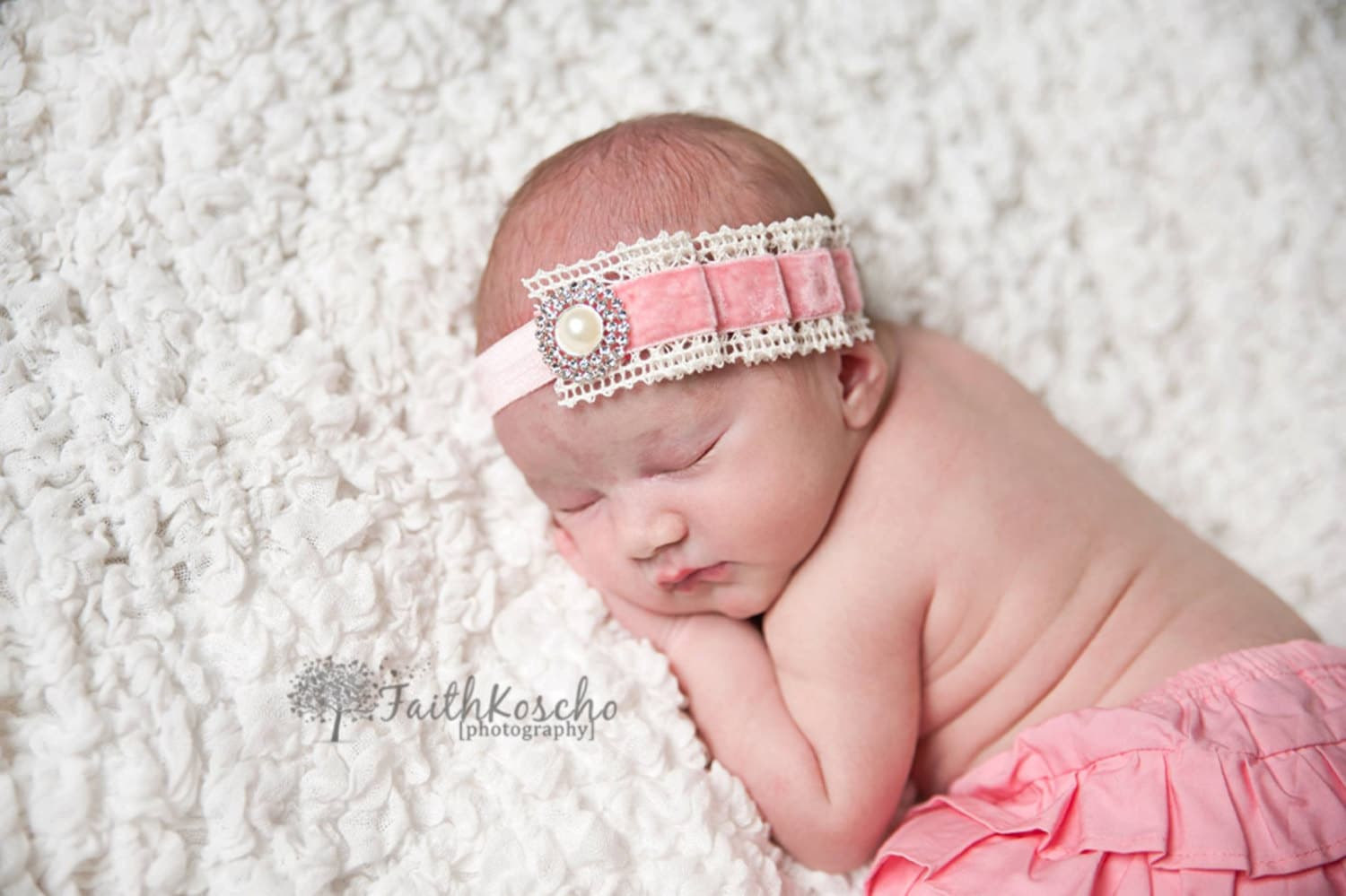 Baby Headband Pleated Pink Velvet And Ivory Crochet Lace W
