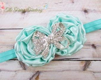 Aqua Blue Flower Headband, Satin Rosette Duo w/ Rhinestone Bow Headband, Flower Girl Wedding, Baby Toddler Child Girls Headband