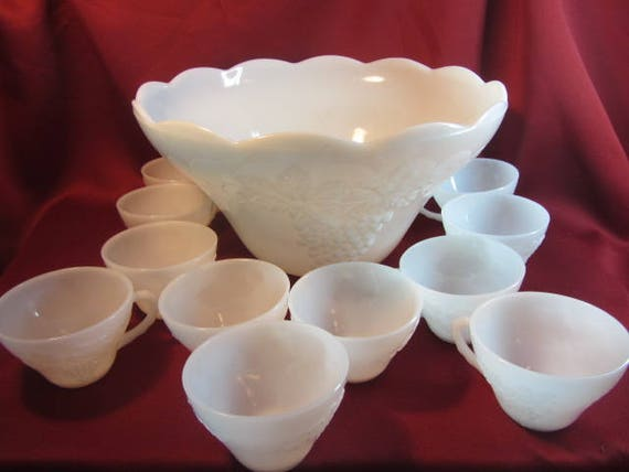 Milk Glass With Grape Pattern Punch Bowl And Glasses Set For Etsy