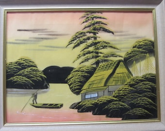Mid Century Silk Painting, 1950's Hand Painted Silk Home Framed, Wall Hanging Made in the 50's, Hanging Art With Painted Silk, Farm Silk