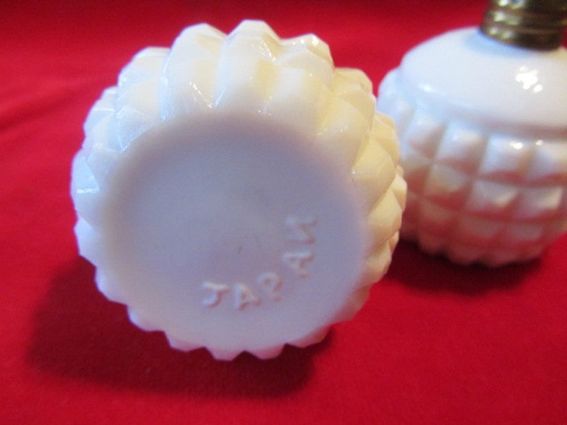Salt and Pepper Milk Glass Set Set of Diamond  Point Milk Glass Salt and Pepper Shakers Made in Japan Mid Century Milk Glass S /& P Set