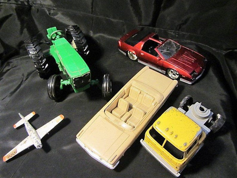 Tractor Made of Die Cast Metal and Plastic Lot from 60/'s to 80/'s Cars and Plane Plane Tractor Lot Vintage Toy Cars