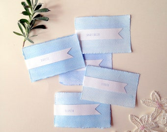 Ten personalised wedding place cards, blue table place name cards, blue watercolour wedding stationery,  boho wedding ideas