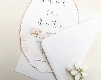 Save the date, blush and gold, deckled edge hand painted invite, romantic weddings, luxury weddinf invitations