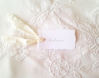 Deckle edge place cards, wedding place cards, rustic wedding stationery, custom wedding name cards, white wedding cards