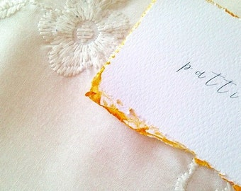 Gold edged place cards, wedding place cards, gold painted, deckle edge wedding stationery