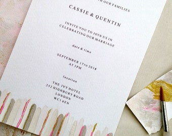 Calico modern wedding invites, hand painted invites, custom wedding stationery, gilded RSVP cards, romantic wedding stationery