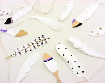 Boho feather garland, feather wedding decor, feather wall decoration