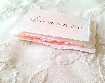 Pink watercolour place cards, wedding place cards, hand painted wedding stationery, custom wedding name cards, escort cards