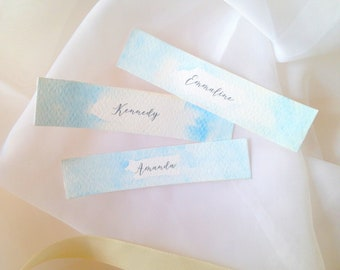 Ten pale blue wedding place cards, blue table place name cards, hand painted wedding stationery, table decor, flat place cards, watercolour