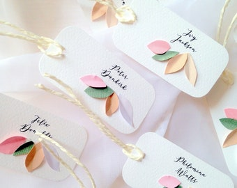 Ten personalised wedding place cards, pink leaves table place name cards, boho wedding name tags, hand made flowers