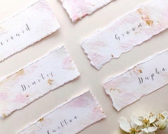 Hand painted pink and gold wedding place cards, acrylic blush, deckle edged, custom wedding stationery, gilded place cards