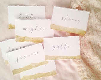 Gold dipped place cards, wedding place cards, gold painted, deckle edge wedding stationery