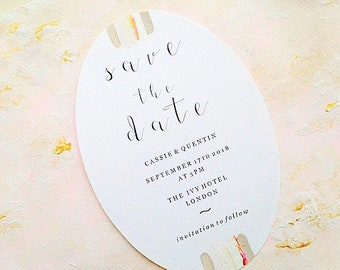 Wedding save the date card, blush and gold, romantic wedding stationery, custom hand painted wedding stationery
