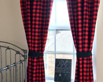 Buffalo Plaid Curtains Etsy
