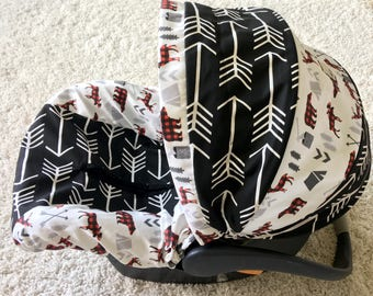 Black Arrows Infant Car Seat Cover Rustic Baby Woodland Boy Covers