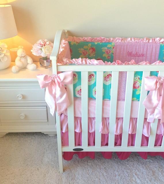 Lola Roses Baby Bedding Flat Bumper Crib Bedding Girl's