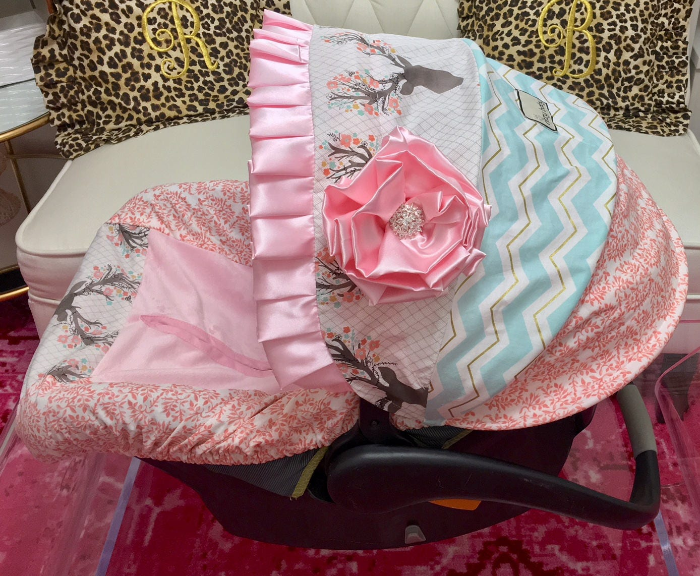Fancy Infant Car Seat Covers Coral Floral Baby Car Seat Etsy