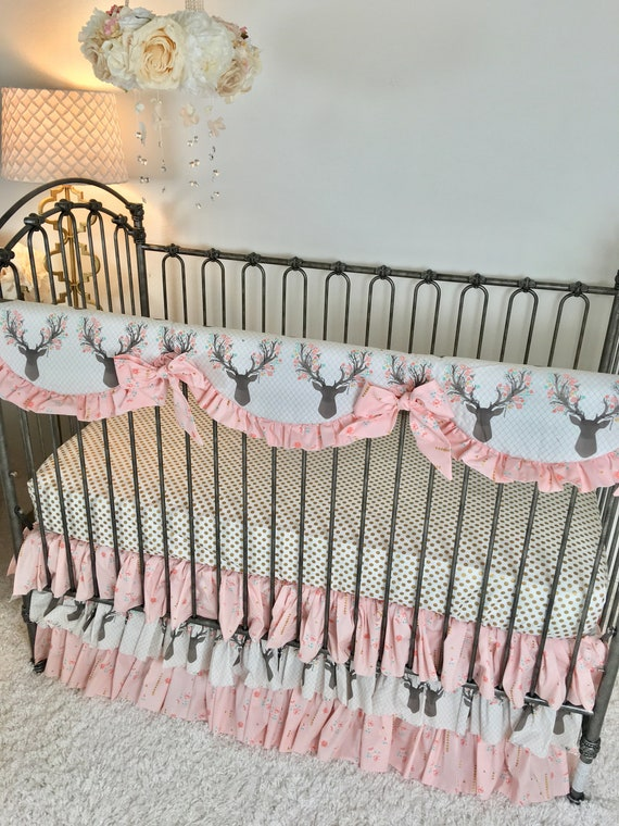 Girly Stag Crib Bedding Brambleberry Pink Floral Baby | Etsy
