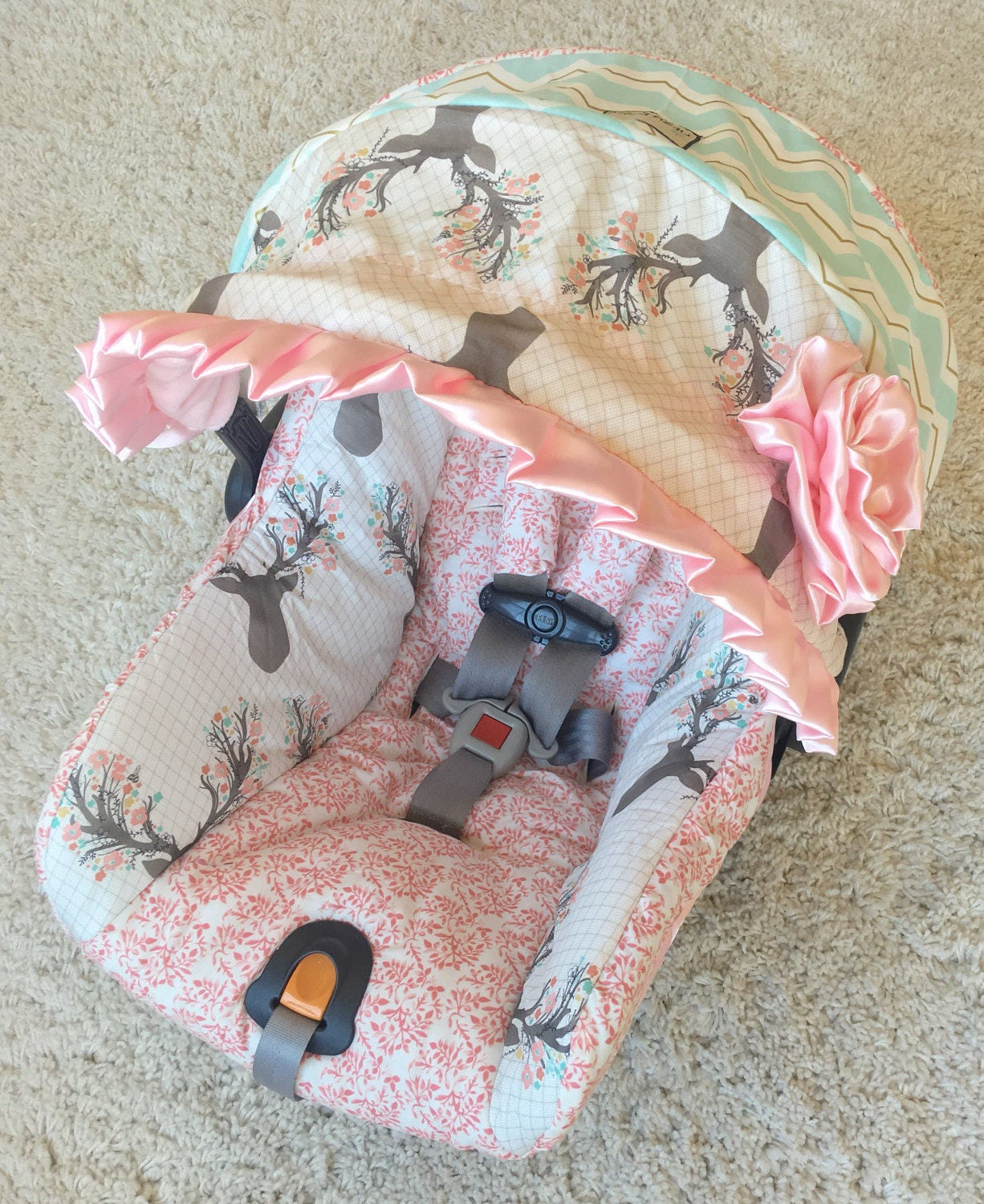 Custom Infant Car Seat Covers 4 Pc Set For Car Seat Girly Etsy