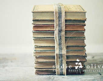 stacked books postcard set