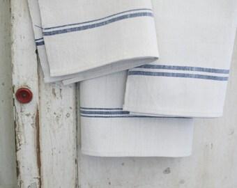 european linen towel, blue stripes