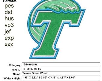 fa2458e7379 Embroidery Machine File 13160-02-03-05 Tulane Green Wave