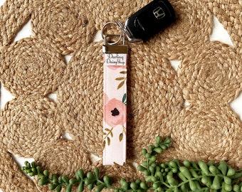Limited Edition pink floral fabric keyfob key fob chain for women keychain wristlet holder ring handmade graduation teacher appreciation