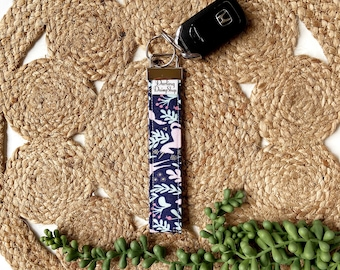 Limited Edition navy unicorn fabric keyfob key fob chain for women keychain wristlet holder ring handmade graduation teacher appreciation