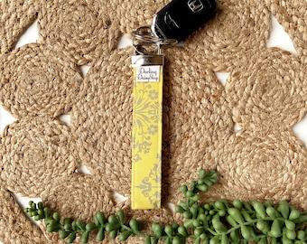 Limited Edition yellow & gray fabric keyfob key fob chain for women keychain wristlet holder ring handmade graduation teacher appreciation