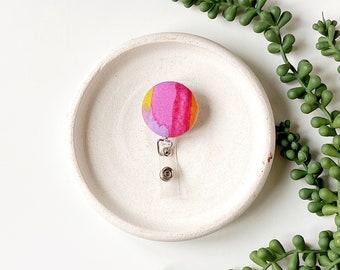 Limited Edition - pink watercolor retractable badge reel badgereel cute nurse clip holder accessories gift under 10 teacher appreciation