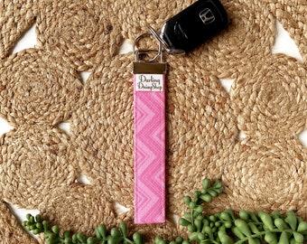 Limited Edition pink chevron fabric keyfob key fob chain for women keychain wristlet holder ring handmade graduation teacher appreciation