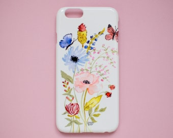 iPhone Case - Watercolor Floral Botanical Print - 6S and 6 Plus