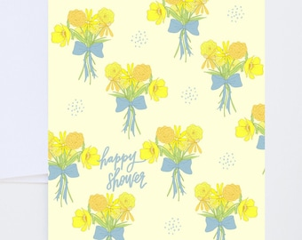 Wedding And Baby Greetings - Happy Shower Bouquet - Baby or Wedding Shower - Painted & Hand Lettered Cards - A-2