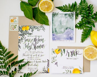 Lemon & Greenery Italy Inspired Suite - Painted Calligraphy - Hand Lettering - Watercolor Wedding Invitation Suite  - Color Customizable