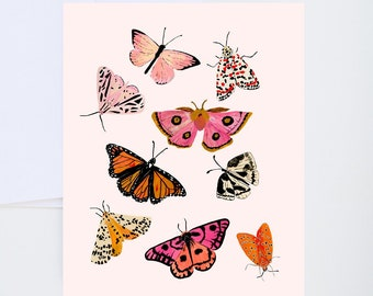 Moth And Butterfly Print Card Set - Set of 8 - Blank Greeting Cards - Painted & Hand Lettered Cards - A-2