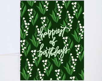 Birthday Greetings - Lily of The Valley Florals - Painted & Hand Lettered Cards - A-2