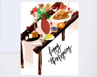 Happy Thanksgiving - Thanksgiving Dinner Table - Fall  - Illustrated Watercolor Greeting Card - A-2
