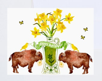 Birthday Greetings - Happy Birthday  - Ginger Jar, Yellow Florals and Buffalo - Painted & Hand Lettered Cards - A-2
