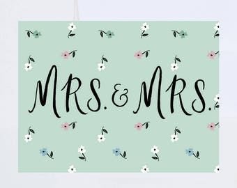 Wedding / Love Greetings - Mrs And Mrs - Painted & Hand Lettered Cards - A-2