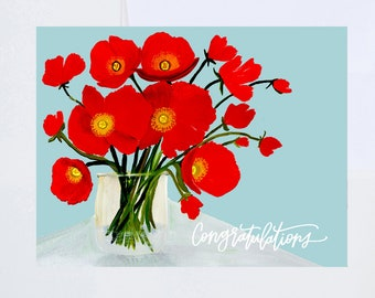 General Greetings - Congratulations Poppy in Jar - Painted & Hand Lettered Cards - A-2