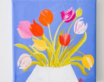 "Tulips on Cornflower Blue - Original Painting - Gouache on Canvas - 8""x8"""