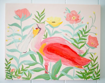 Original Painting - Roseate Spoonbill and Florals - Wrapped Canvas