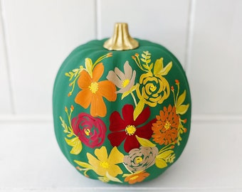 """Large Hand Painted Pumpkin - Fall Colors on Hunter Green - 9"""""""