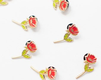 """Enamel Pin - Red And Gold Poppy - Stationery & Gift - Accessories - 1 Pin - 1.25"""""""