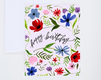 Lavender Happy Birthday - Painted Greeting Cards - A-2