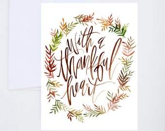 Thanksgiving - With A Thankful Heart - Illustrated Watercolor Greeting Card - A-2